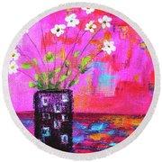 Sweet Little Flower Vase Round Beach Towel by Haleh Mahbod