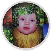Sweet Mary Collage Round Beach Towel