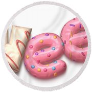 Round Beach Towel featuring the digital art Sweet  by Mary Machare