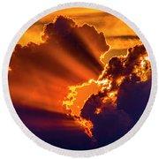 Sweet Nebraska Crepuscular Rays 010 Round Beach Towel