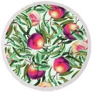 Sweet Peaches Round Beach Towel