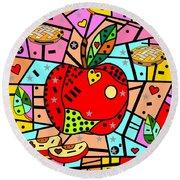Sweet Popart Apple By Nico Bielow Round Beach Towel