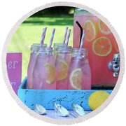 Sweeter Than Sugar Pink Lemonade Round Beach Towel
