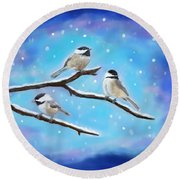 Round Beach Towel featuring the painting Sweetest Winter Birdies by Leslie Allen