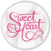 Round Beach Towel featuring the drawing Sweetheart by Cindy Garber Iverson