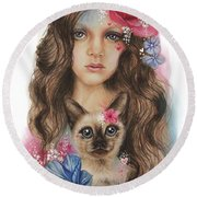 Round Beach Towel featuring the mixed media Sweetheart by Sheena Pike