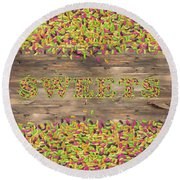 Sweets Round Beach Towel by La Reve Design