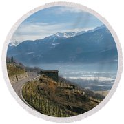 Swerving Road In Valtellina, Italy Round Beach Towel