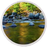 Swift River Reflection Round Beach Towel