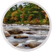 Swift River Runs Through Fall Colors Round Beach Towel