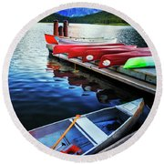 Swiftcurrent Lake And Canoes Round Beach Towel