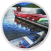Swiftcurrent Lake And Canoes_pastel Version Round Beach Towel