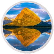 Swiftcurrent Lake Sunrise Panorama Round Beach Towel