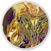 Round Beach Towel featuring the digital art Swimming Horses by Linda Sannuti