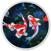 Swimming In Peace Round Beach Towel