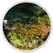 swimming in the Buley Rockhole waterfalls Round Beach Towel