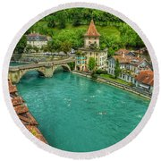 Round Beach Towel featuring the photograph Swimming The River Aare , Bern  by Connie Handscomb