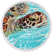 Swimming Turtle Round Beach Towel