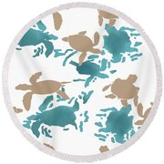 Swimming Turtles Round Beach Towel