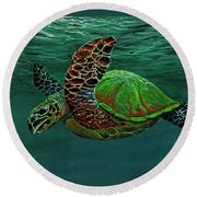 Round Beach Towel featuring the painting Swimming With Aloha by Darice Machel McGuire