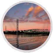 Swing Bridge At Sunset, Topsail Island, North Carolina Round Beach Towel