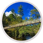 Toccoa River Swinging Bridge Round Beach Towel