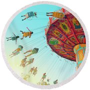 Round Beach Towel featuring the photograph Swings by Cindy Garber Iverson
