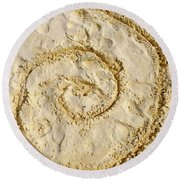 Round Beach Towel featuring the photograph Swirl Drawn In The Sand by Francesca Mackenney