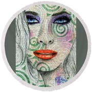 Swirl Girl Round Beach Towel by P J Lewis