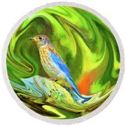 Swirling Bluebird Abstract Round Beach Towel