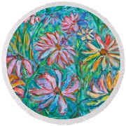 Round Beach Towel featuring the painting Swirling Color by Kendall Kessler
