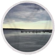 Swirling Currents On Casco Bay Round Beach Towel by Patricia E Sundik
