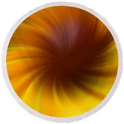 Swirling Yellow And Brown Round Beach Towel