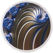 Swirly Blue Fractal Art Round Beach Towel by Bonnie Bruno