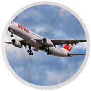 Swiss Airbus A330-343 Round Beach Towel