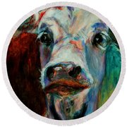 Round Beach Towel featuring the painting Swiss Cow - 1 by David  Van Hulst
