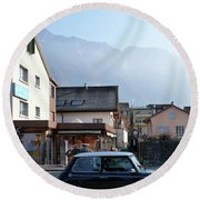 Round Beach Towel featuring the photograph Swiss Mini by Christin Brodie