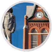 Swiss Settlers Monument Round Beach Towel