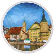 Swiss Town Round Beach Towel