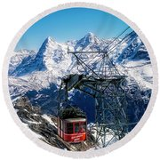 Switzerland Alps Schilthorn Bahn Cable Car  Round Beach Towel