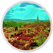 Round Beach Towel featuring the photograph Switzerland Bern City View Matte Aare River    by Tom Jelen