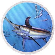 Swordfish In Freedom Round Beach Towel