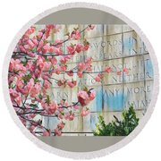 Swords Into Plowshares - Spring Flowers Round Beach Towel by Miriam Danar