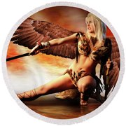 Swords Of The Hawk Woman Round Beach Towel