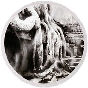 Round Beach Towel featuring the painting Sycamore Tree Overgrowing Ruins- Cambodia by Ryan Fox
