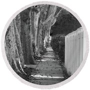 Sycamore Walk-grayscale Version Round Beach Towel