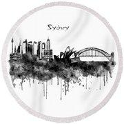 Sydney Black And White Watercolor Skyline Round Beach Towel