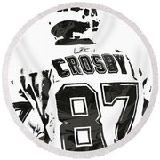 Sydney Crosby Pittsburgh Penguins Pixel Art 2 Round Beach Towel by Joe Hamilton