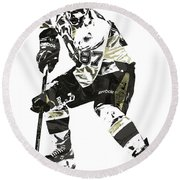 Sydney Crosby Pittsburgh Penguins Pixel Art3 Round Beach Towel by Joe Hamilton