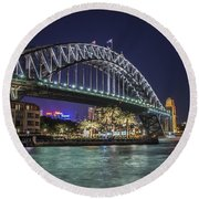 Sydney Harbor Bridge At Night Round Beach Towel